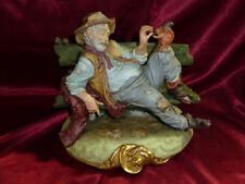 Vtg TRAMP FEEDING SQUIRREL Capodimonte Porcelain Figurine Italian Signed B MERLI