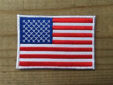 American Flag,Us Flag White Border Embroidery Iron On Patch- 3 5/8""