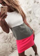 Damen Sommerkleid Slim Longtop Longshirt Casual Minikleid Shirkleid Blusenkleid