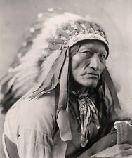 "North American Indian Portrait, antique 1900, High Bear, Headdress, 20x16"" Photo"