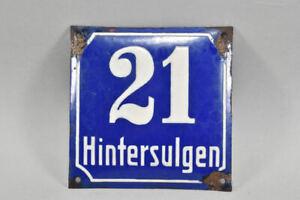 """k67g26- Emailschild Straßenschild """"Hintersulgen 21"""""""