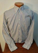 Paul Fredrick 80's Two Ply Pinpoint White blue stripe Long Sleeve 15.5 35 Cotton