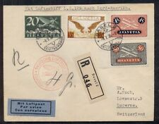 SWITZERLAND 1936 1st North America Hindenburg Flight, registered & multifranked