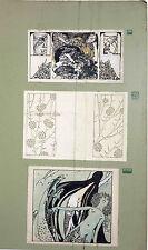 3 Art Nouveau Jugendstil ORIGINAL Ink Drawings, Puchinger, For Das Interieur