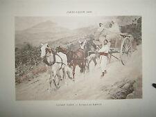 Gravure 19° 1899 couleur Peinture Alfred Paris: Roulage en Kabylie chevaux