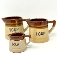 Vintage Brown & Tan ceramic crock pitcher measuring cup set 1, 3/4 & 1/4 cups