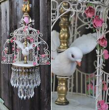 WEDDING Porcelain Brass Tole Shabby Pink Roses Bird Cage GAZEBO lamp chandelier