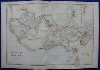 WEST AFRICA, GHANA, LIBERIA, GOLD COAST, original antique map, Weller, 1882