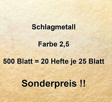500 Blatt Farbe 2,5 Schlagmetall Blattmetall Blattsilber Blattgold-- 20 Hefte !