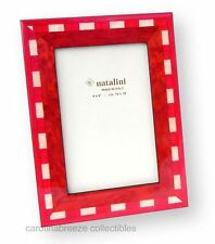 Natalini Wood Marquetry Photo Frame Red and White Handmade in Italy 4x6