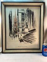 Vtg John Haymson NEW YORK TREASURY BUILDING Watercolor Print Shadowbox framed