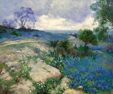 Texas Bluebonnets Landscape Oil painting Printed on Canvas 16X20 Inch P1085