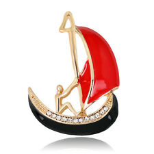 Lapel Pin Women Fashion Jewelry Alloy Rhinestone Sailboat Shape Enamel Brooch