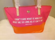 KATE SPADE DOROTHY PARKER CALL TO ACTION PINK SNAPDRAGON QUOTE COAL TOTE NWT