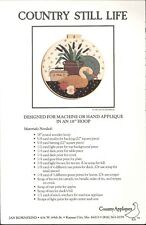 """Country Still Life Applique Pattern 18"""" Hoop NIP Goose Cattails Tea Apple Calico"""