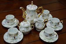 Coffe Set 6 Cups/Saucers/Coffee Pot/Sugar Bowl/Creamer Iridescent/Gilt Japan