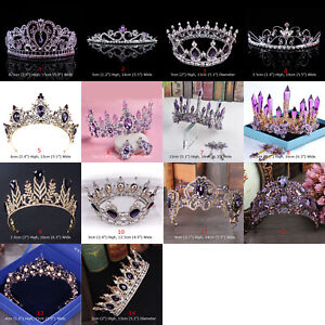 15 Styles Purple Crystal Queen Princess Tiara Crown Wedding Party Pageant
