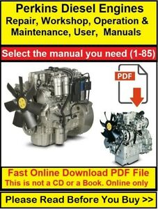 Perkins Diesel Engine Manual, Repair, Workshop, Operation & Maintenance, User
