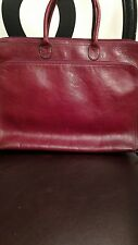 Vtg Large WILSONS PELLE STUDIO burgendy Leather Laptop Organzier Tote Bag Case