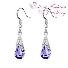 18K White Gold GP Made With Swarovski Crystal Water-drop Purple Dangle Earrings