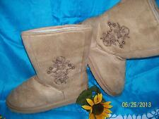 Faux Suede & Shearling-Lined Embroidered Short Boots - Tan - Size 8