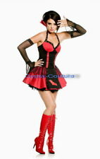 SEXY DELUXE LADIES GOTH VAMPIRE + GLOVES HALLOWEEN FANCY PARTY DRESS COSTUME