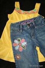 BABY GAP Lawn Party Embroidered Capri Jeans & Swing Top Set SIze 4-5 Adorable!