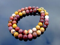 Mookaite Natural Gemstone Necklace 8mm Beaded Gold 16-30inch Healing Stone Reiki