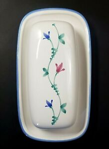 Cream & Blue Porcelain Butter Dish Hand Painted Floral Pattern