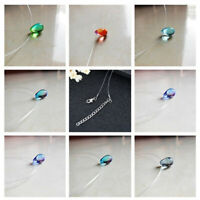 Women Necklace Colored Pendant Mermaid Tears Small Drop Snake Chain Glass Gifts