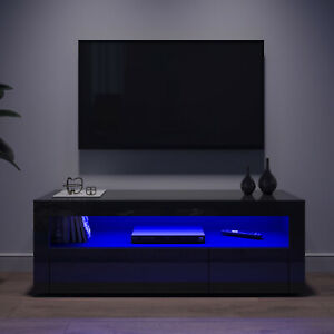 Modern TV Unit Cabinet Stand White High Gloss with LED Lights Drawers 120cm