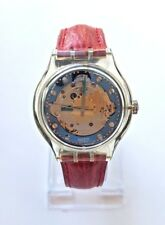 RARE New in Box SWATCH Automatic SAK101 Red Ahead Swiss Watch Leather 1992