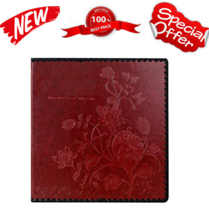 Photo Album Book Family Album Leather Cover Holds 3x5 4x6 5x7 6x8 8x10 Wine Red