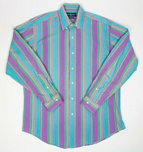 Men's Medium Ralph Lauren Classic Fit Purple Aqua Long Sleeve Button Down Shirt