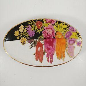 "ANTHROPOLOGIE Pink & Purple Floral Ceramic Soap Dish 6.5"""
