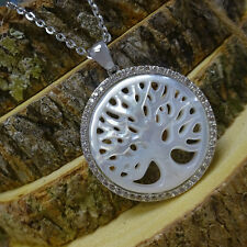 """Large Silver """"Tree of Life"""" Mother of Pearl Pendant CZ Necklace"""
