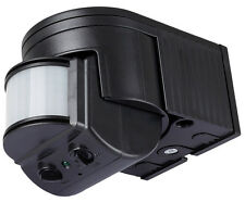 Bewegungsmelder schwarz 180° Außen, IR max.12m,  10 -1000Watt , 10sec-8min