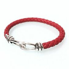 Tiffany & Co. Sterling Silver Paloma Picasso Knot Bracelet Red Leather