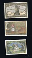 3x Notgeld  50 Pf , 1 + 2 M Gutschein der Gemeinde KEITUM AUF SYLT 1920 top
