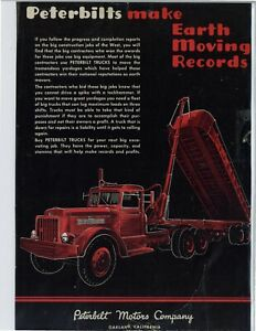 "1949 Peterbilt Trucks Ad: ""Make Earth Moving Records"" Oakland, California"