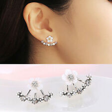 Women Elegant Silver Crystal Rhinestone Daisy Flower Ear Stud Earrings Jewelry