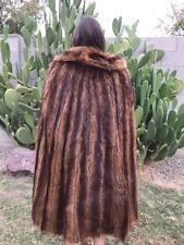 "VINTAGE 50's Brown Natural BEAVER FUR CAPE SHAWL PONCHO JACKET 44"" Long"