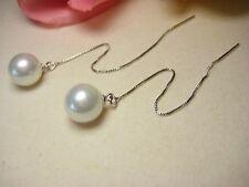 Ohrring 925 Silber Ohrhaenger Durchzieher Muschelkernperle Perlen Schmuck 10 mm