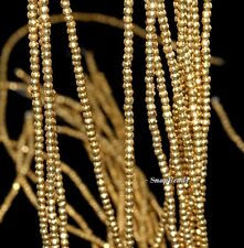 2MM GOLD HEMATITE GEMSTONE GOLD FACETED ROUND 2MM LOOSE BEADS 15.5""