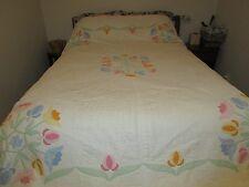 Vintage Collectible Hand Sewn Applique Quilt Spring Flower Design