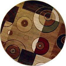"""Modern Block Area Rug 8x8 Contemporary Geometric Ring - Actual 7'10""""x7'10"""" Round"""