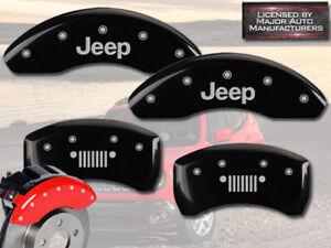 "2015-2017 Jeep Renegade Front + Rear Black MGP Brake Disc Caliper Covers ""Grill"""