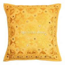 Decorative Indian Mirror Embroidered Sofa Cushion Cover Kantha Pillowcase Cover