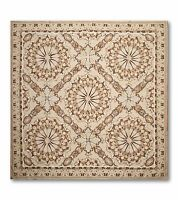 """6'6"""" x 6'6"""" Handmade 100% wool French Needlepoint Area Rug- Aubusson Square"""