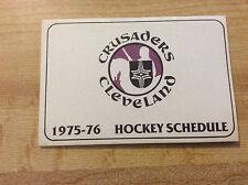 1975-76 Cleveland Crusaders Hockey WHA Pocket Schedule Original Vintage